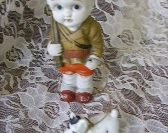 """Vintage 1950's Bisque Boy Doll with Dog/JAPAN/ 5"""" tall"""