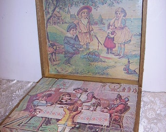 Antique Victorian Puzzle Picture Blocks Childs Puzzle Blocks/ Litho Blocks