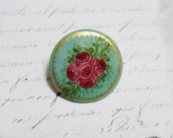 Hand Painted Mother of Pearl Brooch Pin Pink Roses Painting