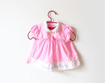 vintage baby girls dress 70's childrens clothing grandma loves me pink size 3 6 mos months