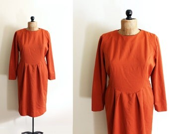 vintage dress rust burnt orange 1970's handmade office sophisticated clothing size medium m 10 12