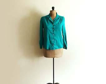 SALE vintage blouse 1970s womens clothing button down shirt emerald green size small s