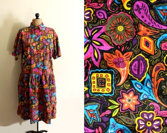 vintage dress 1980s womens clothing novelty print floral rainbow colors abstract size medium large m l
