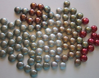 100 vintage faux glass pearl cabochons - vintage supply - 12mm to 13mm, assorted colors