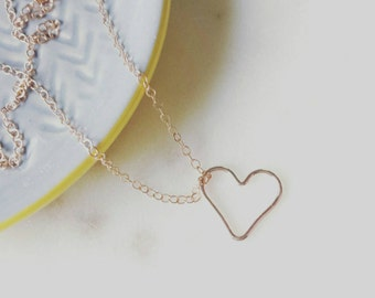 Rose gold open heart necklace, Adore, dainty layering jewelry