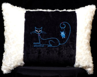 New Black & Off-White Siamese Cat Accent Pillow New 12 x 16 Insert — Item 191