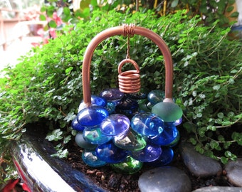Fairy Garden Accessories, Wishing Well, Peacock Feathers Glass Drops, Copper & Glass Wishing Well, Outdoor Fairy Garden