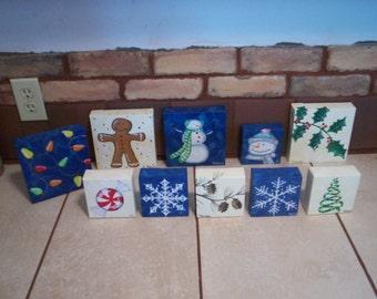 "Christmas Designs Acrylic on Canvas Originals by Lisa Hayward 6"" X 6"""