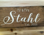 Personalized Name Sign Established Sign Rustic Family name sign