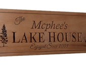 Lake House Sign, Lake House Decor, Cottage sign,  Beach House sign, Man Cave sign, Cabin decor, Carved in solid pine 8 x 24