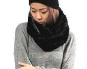 Black Faux Fur Circle Scarf with Charcoal