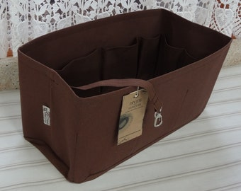 Fits Neverfull MM / Ready to ship / Purse Organizer SHAPER/ 12 x 6 x 6H / Brown /Sturdy and Durable/With Stiff Wipe-Clean Bottom & key fob