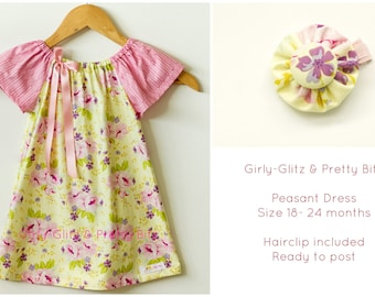 ON SALE: Yellow and pink peasant dress (size18-24months)