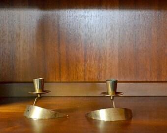 vintage bronze crescent moon candle stick holders - metal arts co