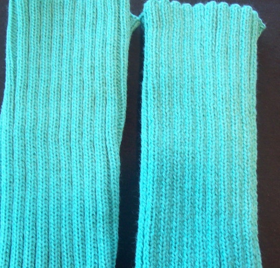 Knitting Patterns For Dance Leg Warmers : Teal Knitted Leg Warmers Dance Leg Warmers Socks and