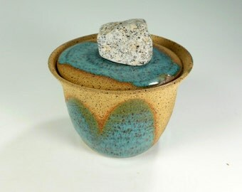 Pottery sugar jar, ceramic salt box, stoneware pottery sugar bowl with lid and rock knob, pottery salt cellar, turquoise glaze