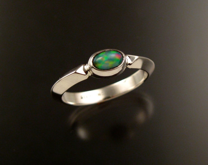 Opal ring Sterling silver Triangular band natural Ethiopian Opal ring Made to order in your size