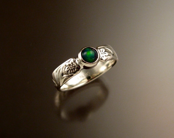 Opal Ring Sterling Silver Victorian flower and vine pattern band Handmade to order in your size