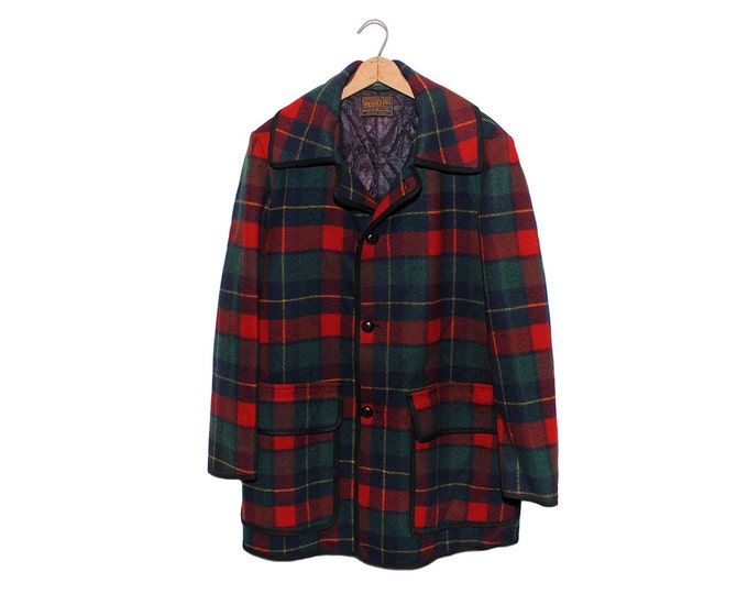 Vintage Pendleton Red & Green Plaid Tartan Fully Lined Wool Jacket Made in USA - Large