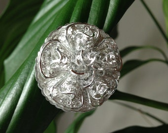 Unique silver flower western Germany made scarf hat sweater hair clip
