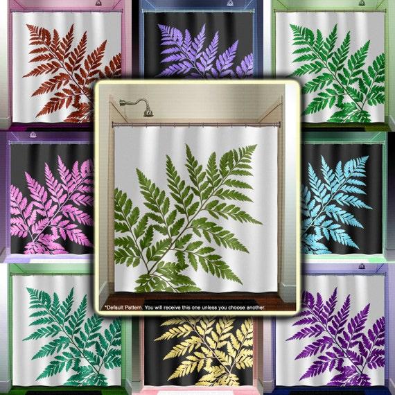 Tropical Green Fern Leaf Shower Curtain bathroom decor fabric kids ...