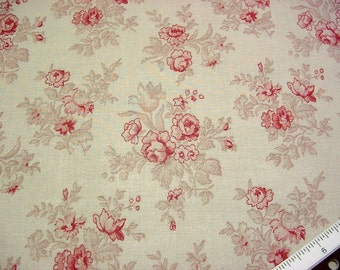 Laura Ashley Decorator Fabric -English Country Print -Raspberry Pink Roses on Beige Drapery Material BTY