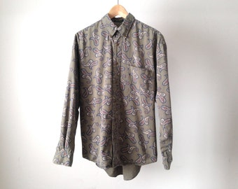 VERSACE style men's PAISLEY style ABSTRACT 90s long sleeve button up shirt pastel purple long sleeve vintage button up down shirt
