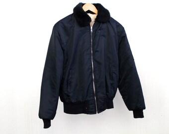AVIATOR large navy blue faux FUR bomber coat jacket
