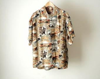TROPICAL SURF print 80s 90s HAWAIIAN rayon short sleeve shirt