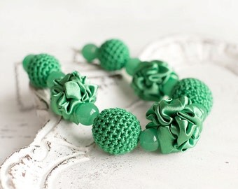 Green fabric and crochet beads necklace, textile necklace, textile jewelry, Statement Necklace, Unique Gift for Her