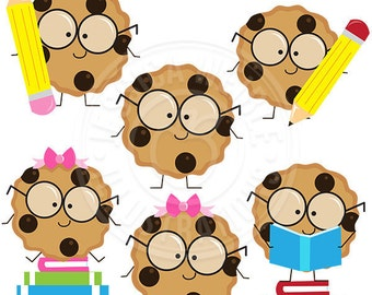 Smart Cookie Cute Digital Clipart, Cookie with Glasses Clipart, School Clipart, School Clip art, Cookie Clipart, Reading Graphics, Smart