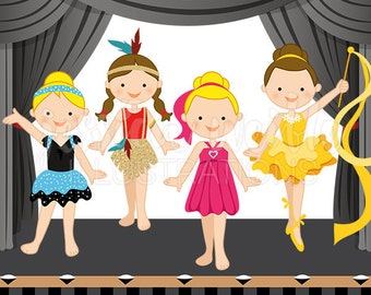 Dance Recital Cute Digital Clipart for Commercial or Personal Use, Dance Clipart, Girls in Costume