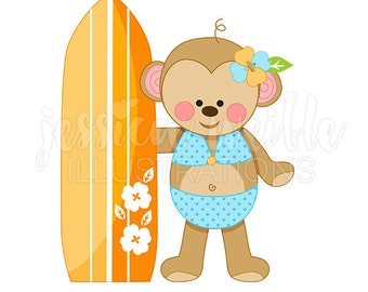 Beachy Monkey Cute Digital Clipart, Monkey with Surfboard Clip art, Beach Graphics, Summer Clipart, Cute Monkey Illustration, #196