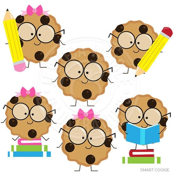 Smart Cookie Cute Digital Clipart, Cookie with Glasses ...