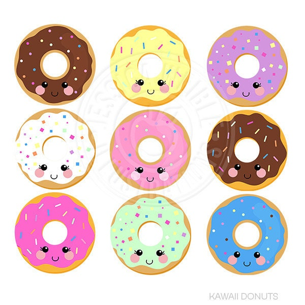 Cartoon Doughnut Factory: Kawaii Donuts Cute Digital Clipart Donut Clipart Donut