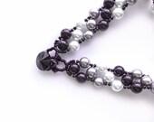black . white . grey . silver.  striped pearl bracelet . swarovski . stripe . pearl bracelet . larger size