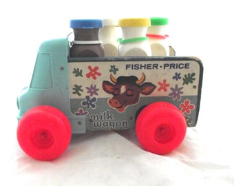 Milk Wagon Toy, Vintage Wood and Plastic Fisher-Price Truck with Milk Bottles (J3)