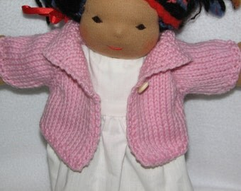 Doll Sweater for 13 inch Doll in Light Pink Wool RTG