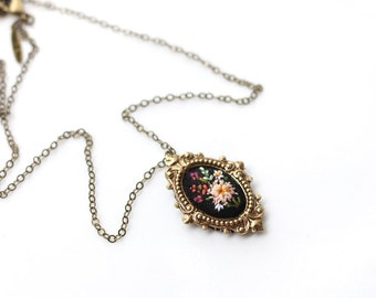 Lil Peach Dahlia- hand embroidered necklace, floral, bouquet, garden, coral, mustard, mint, purple