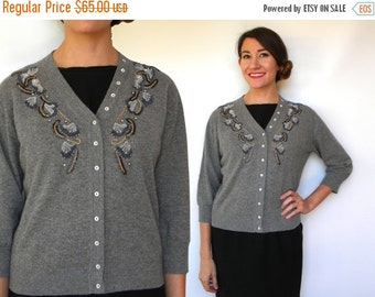 SummerS SALE Vintage 60s Beaded Cashmere Cardigan | Grey Knit Sweater Jacket