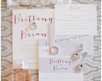 Bronson Wedding Invitation Suite with Belly Band - Silver Grey, Pink, Ivory (colors/text customizable)