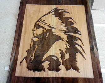 Native American Wall Hanging Carving - Solid Cherry/Walnut