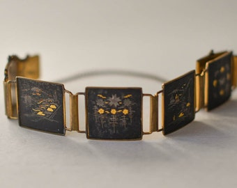 Damascene Bracelet Japan Silver and Gold Bracelet
