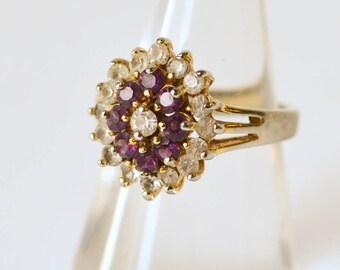 Amethyst Rhinestone Ring Purple and White Rhinestone Vintage Ring Size 6