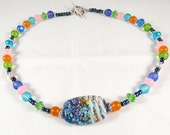 Kandy Necklace Blue Green Pink Orange Aqua Lampwork Bead