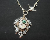 Steampunk Necklace, Vintage Watch Movement Part and Calla Lily  in Antique Silver, Steampunk Bird Necklace