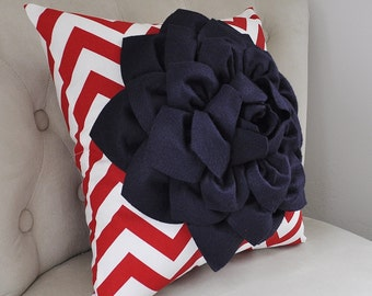 American Navy Blue Dahlia on Red and White Zigzag Pillow -Chevron Pillow-  Red White and Blue Memorial Day Fourth of July Labor Day Decor