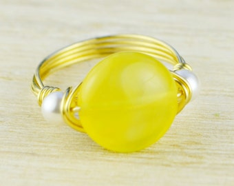 Yellow Agate and Pearl Ring -Yellow or Rose Gold Filled or Sterling Silver Wire Wrapped Birthstone Ring- Any Size 4,5,6,7,8,9,10,11,12,13,14