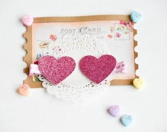 Pink and Purple Glitter Heart Hair Clips, Heart Clips, Felt Hair Clip, Hair Accessory, Pink Sparkly Heart Clips, Clip Set