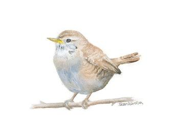Wren Watercolor Painting - 6x4 Giclee Reproduction Fine Art Print - Nursery Art - Woodland Animals